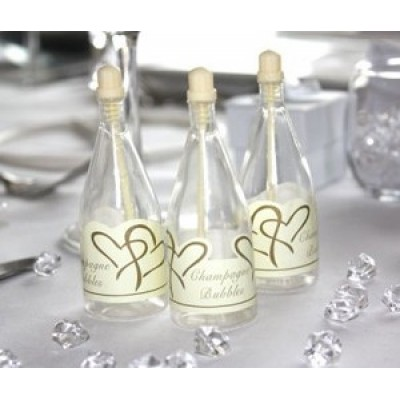 Ivory Heart Wedding Bubbles x12